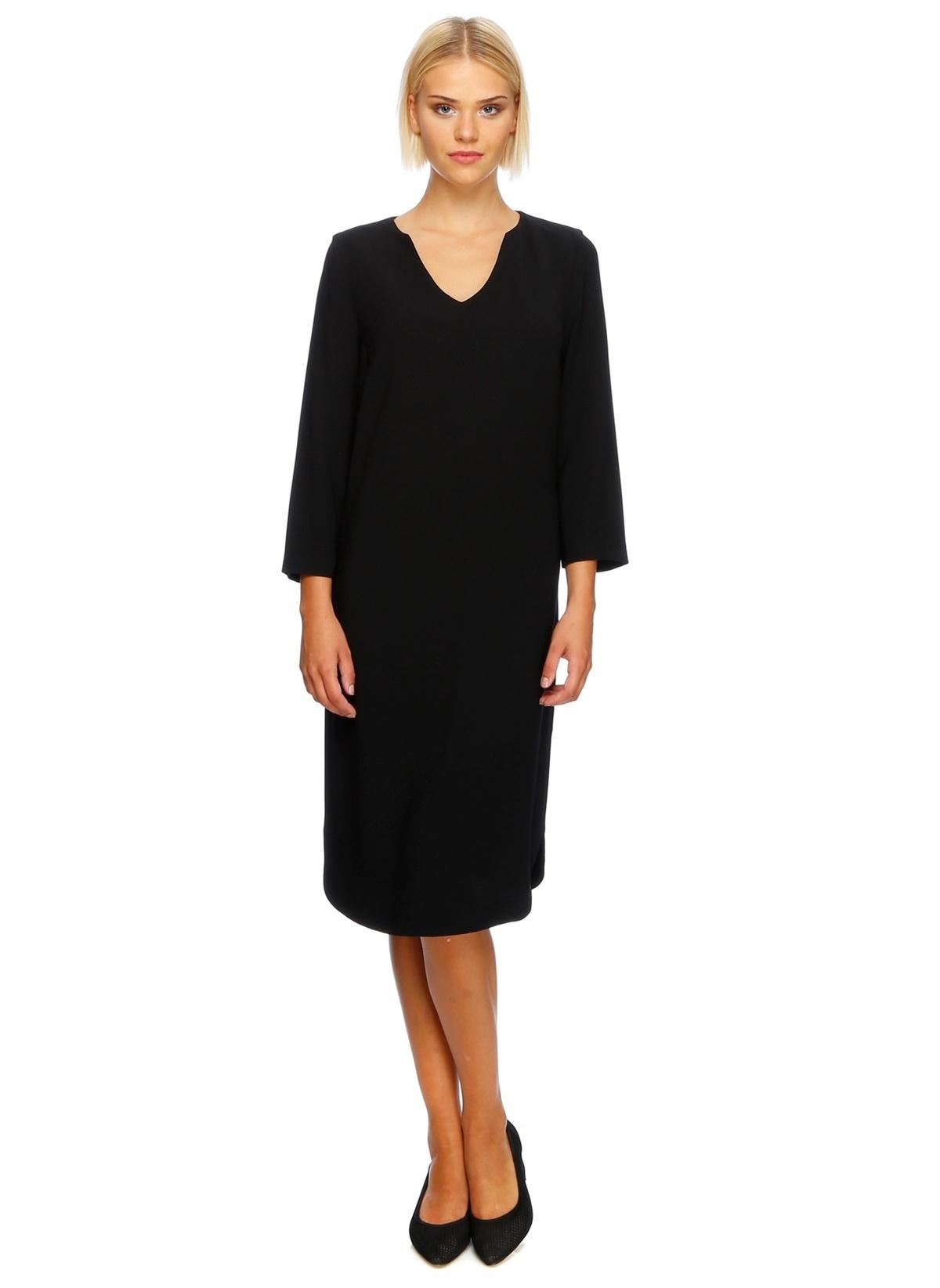 House Of Camellia Uzun Kollu Düz Elbise 72ısı 101lbd Hc Elbise Sıyah – 79.99 TL